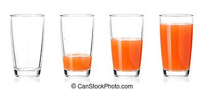 θέτω , από , γυαλιά , χυμόs