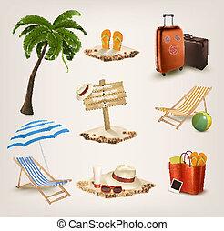 θέτω , από , διακοπές , συγγενεύων , icons., vector.