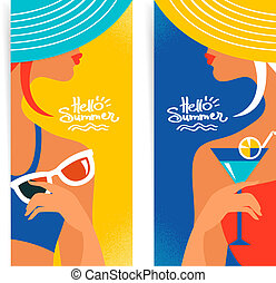 θέτω , από , καλοκαίρι , σημαίες , με , εξαίσιος γυναίκα , silhouettes.