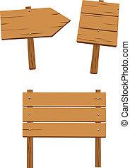 θέτω , από , ξύλινος , σήμα