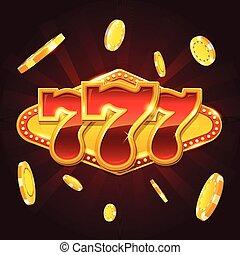 θέτω , από , 777, χρυσός , καζίνο , σύνολο στοιχημάτων , σήμα