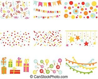 θέτω, γενέθλια, στοιχεία, σχεδιάζω, πάρτυ, βιβλίο απορριμμάτων