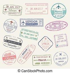 θέτω , γραμματόσημο , ταξιδεύω , απομονωμένος , βίζα , σχεδιάζω , διαβατήριο