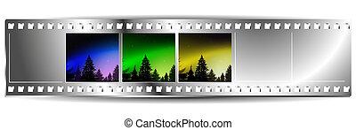 θέτω , γραφικός , landscapes., φύση , τρία , βγάζω , ταινία