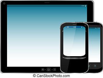 θέτω , δισκίο , κινητός , μοντέρνος , απομονωμένος , pc , τηλέφωνο. , ψηφιακός , άσπρο , κομψός