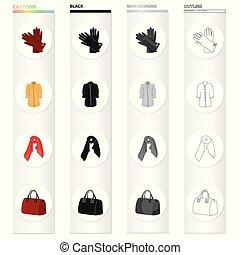 θέτω , εξαρτήματα , μονόχρωμος , φουλάρι , ρουχισμόs , isometric , απεικόνιση , ladies', παλτό , μαύρο , στοκ , σύμβολο , web., ρυθμός , εικόνα , women's , συλλογή , γελοιογραφία , μανδήλιο , γούνα , περίγραμμα , μικροβιοφορέας , bag., γάντια