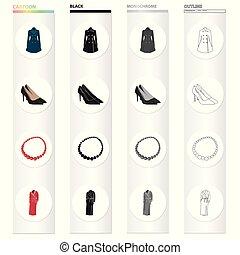 θέτω , εξαρτήματα , robe., μονόχρωμος , ρουχισμόs , φόρεμα , isometric , απεικόνιση , παπούτσια , μαύρο , στοκ , σύμβολο , web., ρυθμός , συλλογή , women's , ζεστός , εικόνα , γελοιογραφία , περιδέραιο , περίγραμμα , μικροβιοφορέας , ρούχα