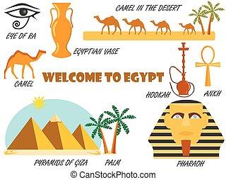 θέτω , καλωσόρισμα , icons., egypt., σύμβολο , vector.
