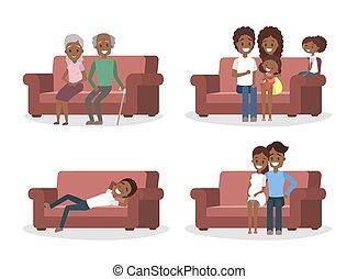 θέτω , καναπέs , άνθρωποι