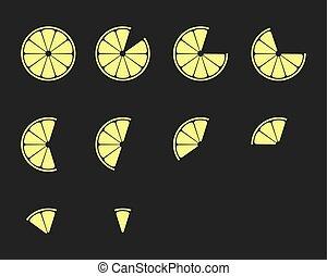 θέτω , κομμάτια , εσπεριδοειδές , λεμόνι , slices., απεικόνιση , πορτοκάλι , μικροβιοφορέας , κίτρο , ασβέστηs