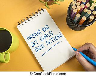 θέτω , μεγάλος , γκολ , δράση , όνειρο , παίρνω