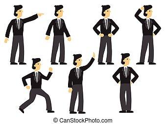 θέτω , μικροβιοφορέας , έκφραση , pose., απομονωμένος , διαφορετικός , επιχειρηματίας , επτά , illustration.