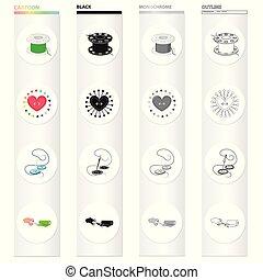 θέτω , ράψιμο , μονόχρωμος , ακινητώ , ρυθμός , ύφασμα , απεικόνιση , εργαστήριο καλλιτέχνου , μαύρο , ρολό , στοκ , ράψιμο , σύμβολο , βελόνα , web., isometric , εικόνα , βελονιάζω , συλλογή , γελοιογραφία , περίγραμμα , βελονιάζω , κουμπί , μικροβιοφορέας , scissors., μαξιλάρι