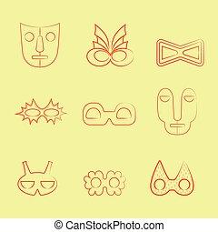 θέτω , τέχνη , καρναβάλι , φυλετικός , αποκρύπτω , πορτοκάλι , γραμμή