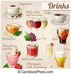 θέτω , τροφή , drinks., icons.