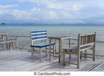 θέτω , φόντο , ξύλινος , κρασί , ουρανόs , θάλασσα , bkue, τραπέζι