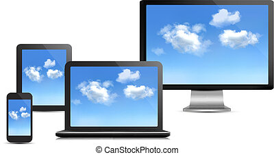 θέτω , χρήση υπολογιστή , concept., ηλεκτρονικός υπολογιστής , vector., devices., σύνεφο