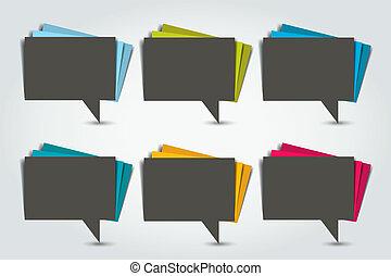 θέτω , χρώμα , bubbles., χαρτί , λόγοs , stickers.