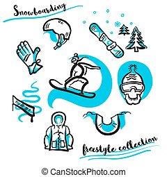 θέτω , freestyle , συλλογή , χέρι , snowboarding , μετοχή του draw