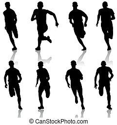 θέτω , illustration., silhouettes., men., μικροβιοφορέας , δρομέας , γρήγορο τρέξιμο