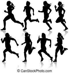 θέτω , illustration., women., silhouettes., μικροβιοφορέας , δρομέας , γρήγορο τρέξιμο