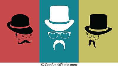 θέτω , moustaches), κρασί , στοιχεία , σχεδιάζω , (hats, γυαλιά