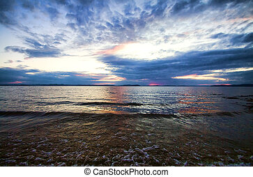 θαλασσογραφία , δραματικός , δύση ηλίου