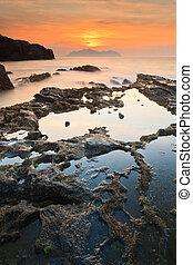 θαλασσογραφία , ηλιοβασίλεμα