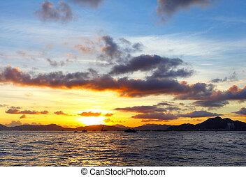 θαλασσογραφία , ηλιοβασίλεμα , κατά την διάρκεια