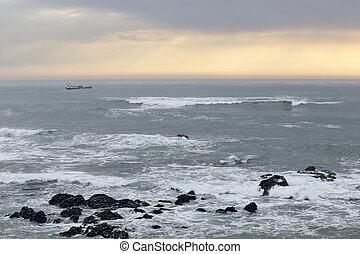 θαλασσογραφία , ηλιοβασίλεμα , πορτοκάλι