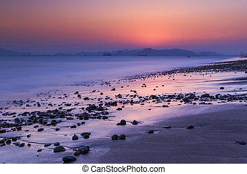 θαλασσογραφία , κίνα , ηλιοβασίλεμα