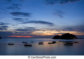 θαλασσογραφία , περίγραμμα , ηλιοβασίλεμα , βάρκα