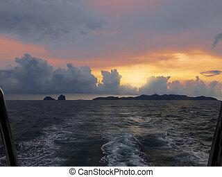 θαλασσογραφία , περίγραμμα , ηλιοβασίλεμα