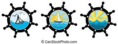 θαλασσογραφία , πηδαλιούχηση , wheel.