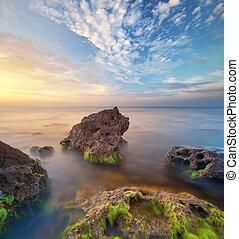 θαλασσογραφία , όμορφος , ηλιοβασίλεμα