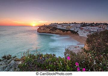 θαλασσογραφία , exposure., ηλιοβασίλεμα , carvoeiro, μακριά