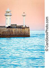 θαλασσογραφία , sunrise., φάρος , πρωί