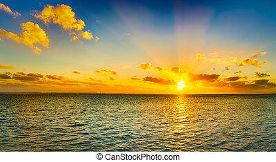 θαλασσογραφία , sunset., πανόραμα