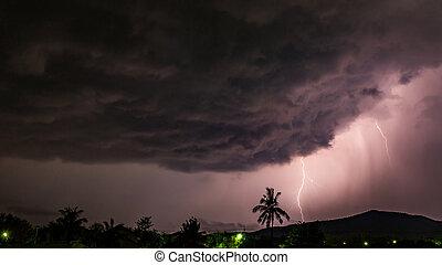 θαμπάδα , καταιγίδα , αστραπή