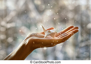 θαυμάσιος , χαρτί , γερανός , μέσα , ο , βάγιο , από , δικό σου , χέρι