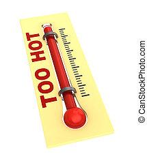 θερμόμετρο , με , ζεστός , θερμοκρασία