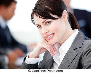 θετικός , συνάντηση , επιχειρηματίαs γυναίκα