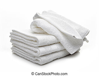θημωνιά , από , άσπρο , ξενοδοχείο , πετσέτεs , επάνω , ένα...