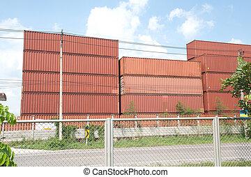 θημωνιά , από , φορτίο , containers.