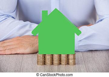 θημωνιά , σπίτι , κέρματα , πράσινο , επιχειρηματίας , μοντέλο