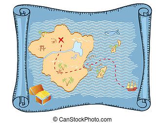 θησαυρός , map., μικροβιοφορέας , γριά , χαρτί , φόντο