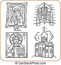 θρησκεία , μικροβιοφορέας , - , illustration., ορθόδοξος