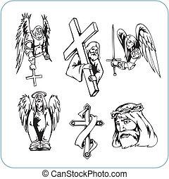 θρησκεία , χριστιανόs , μικροβιοφορέας , - , illustration.