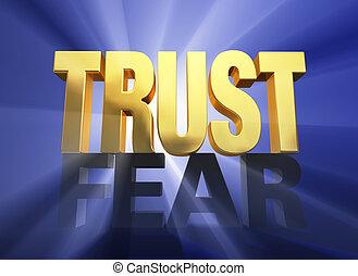 θριαμβεύω , πάνω , εμπιστεύομαι , φόβος