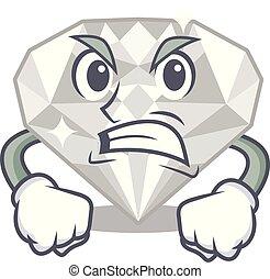 θυμωμένος , διαμάντι , απομονωμένος , άσπρο , γελοιογραφία